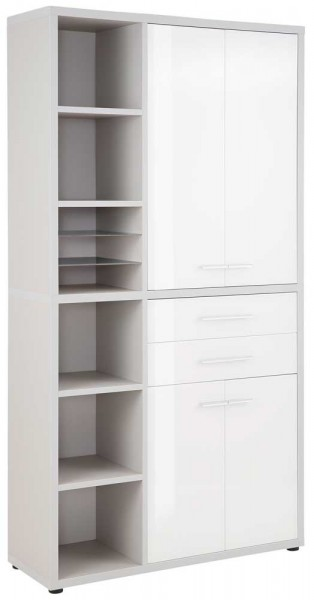 MAJA OFFICE SET+ 16876346 Highboard - Kombination platingrau - Weißglas