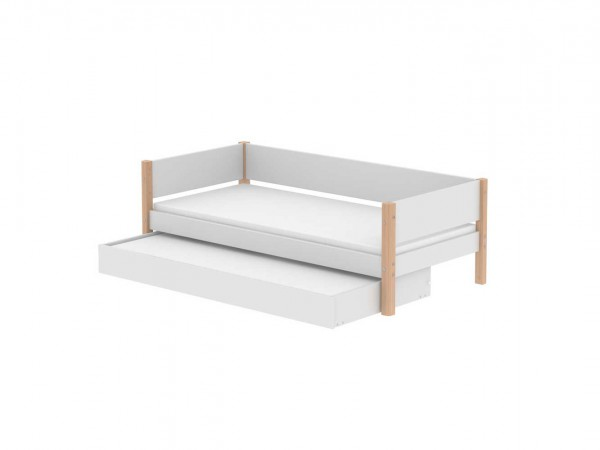 flexa white mdf einzelbett mit ausziehbett 190cm birke. Black Bedroom Furniture Sets. Home Design Ideas