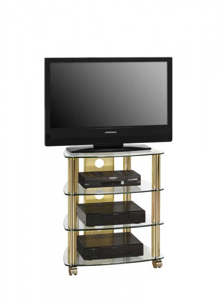 MAJA MEDIA 16099978 TV- und HiFi-Rack Messing - Klarglas