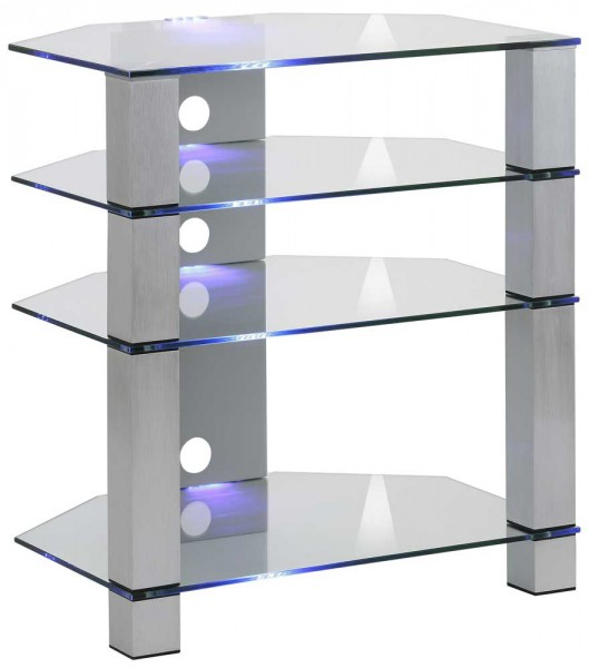 MAJA MEDIA 16549499 TV-Rack Metall Alu - Klarglas