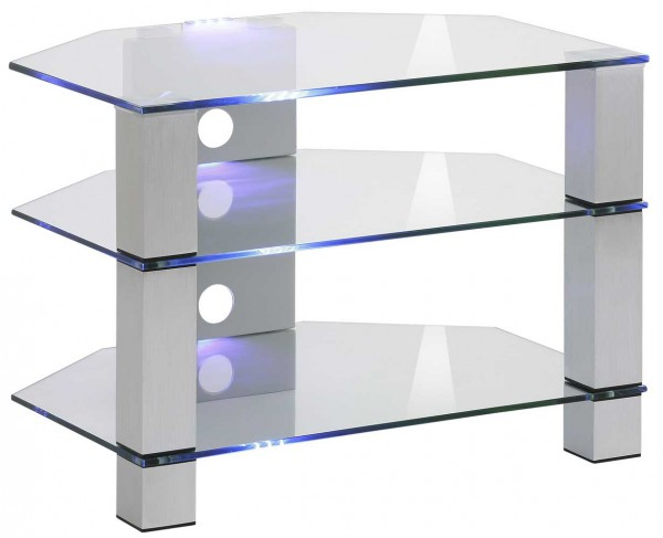 MAJA MEDIA 16529499 TV-Rack Metall Alu - Klarglas
