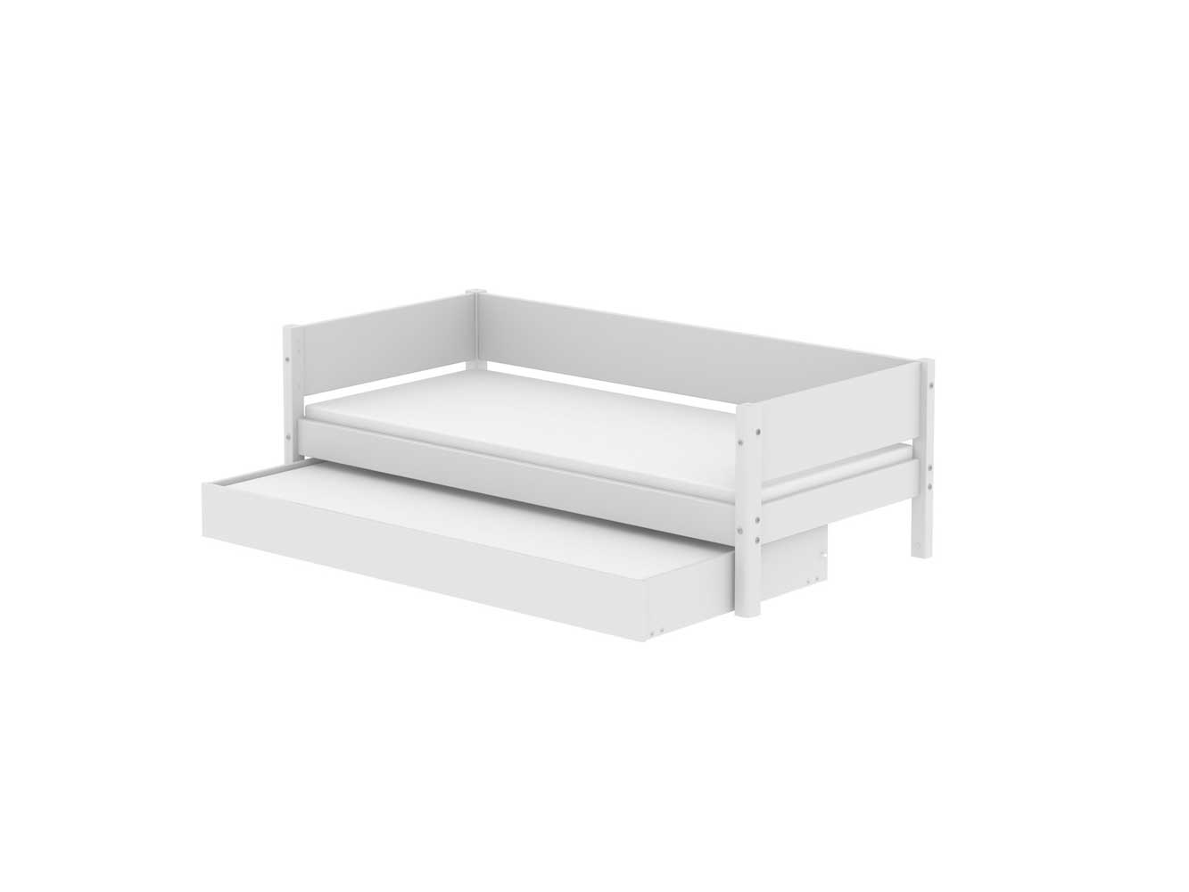 flexa white mdf einzelbett mit ausziehbett 190cm wei einzelbett flexa white system flexa. Black Bedroom Furniture Sets. Home Design Ideas