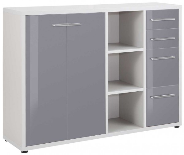 MAJA OFFICE SET+ 16836383 Sideboard - Kombination platingrau - Grauglas