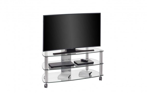 MAJA MEDIA 16149499 TV-Rack Metall Alu - Klarglas
