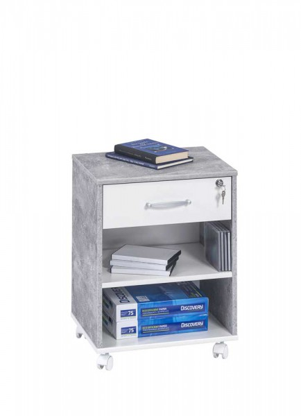 MAJA OFFICE 40259135 Rollcontainer betonoptik - weiß uni