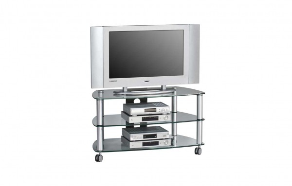 MAJA MEDIA 16109499 TV-Rack Metall Alu - Klarglas